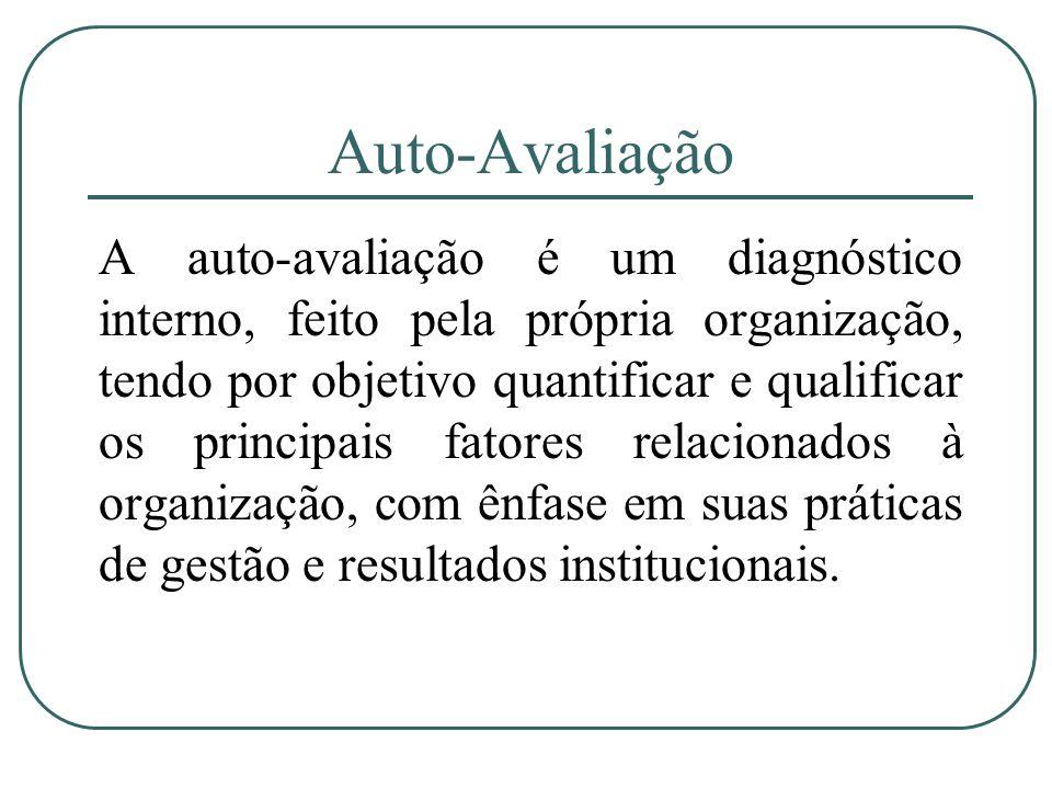 Auto-Avaliação A auto-avaliação é um diagnóstico interno, feito pela própria organização, tendo por objetivo quantificar e qualificar os principais fa