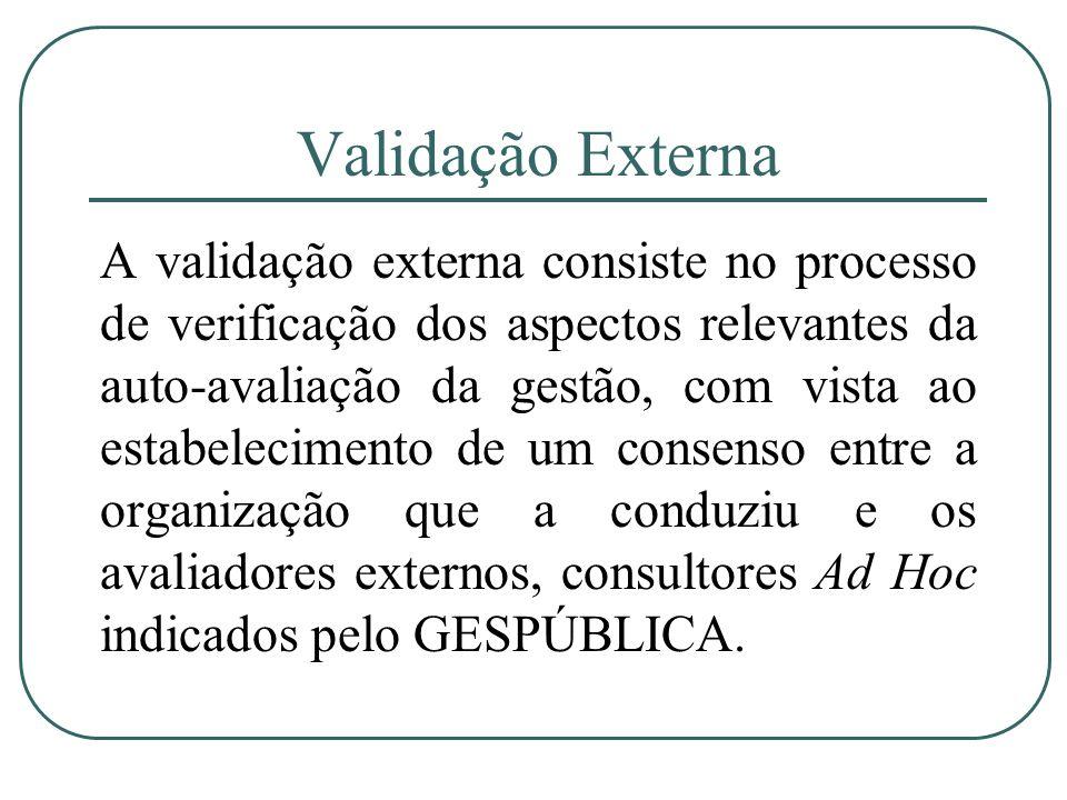 Validação Externa A validação externa consiste no processo de verificação dos aspectos relevantes da auto-avaliação da gestão, com vista ao estabeleci