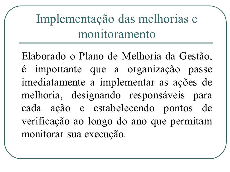Implementação das melhorias e monitoramento Elaborado o Plano de Melhoria da Gestão, é importante que a organização passe imediatamente a implementar