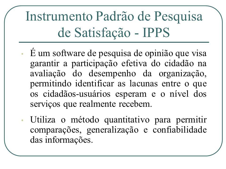Instrumento Padrão de Pesquisa de Satisfação - IPPS É um software de pesquisa de opinião que visa garantir a participação efetiva do cidadão na avalia