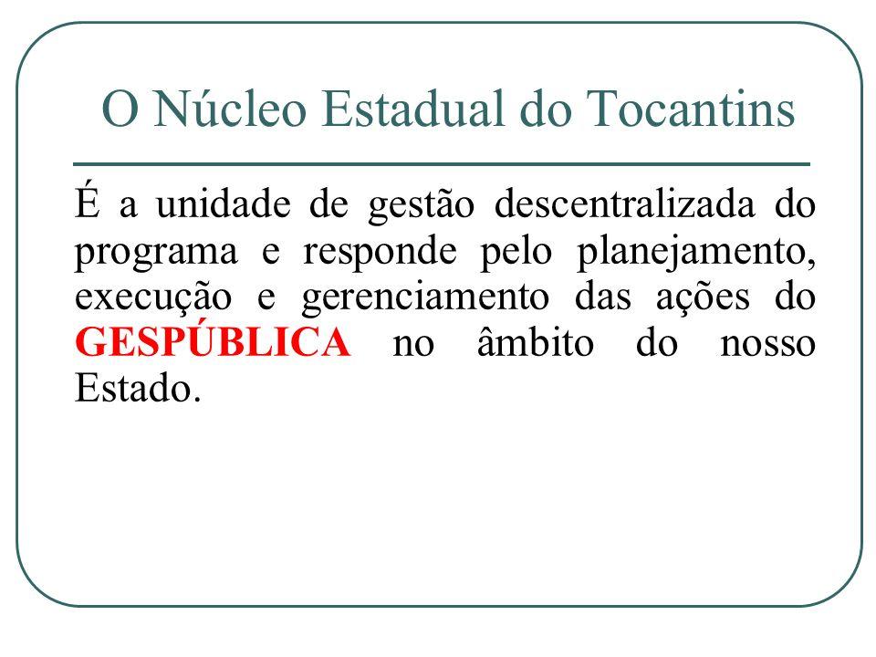 O Núcleo Estadual do Tocantins É a unidade de gestão descentralizada do programa e responde pelo planejamento, execução e gerenciamento das ações do G