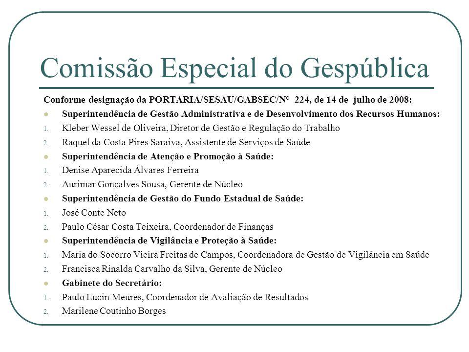 Comissão Especial do Gespública Conforme designação da PORTARIA/SESAU/GABSEC/N° 224, de 14 de julho de 2008: Superintendência de Gestão Administrativa