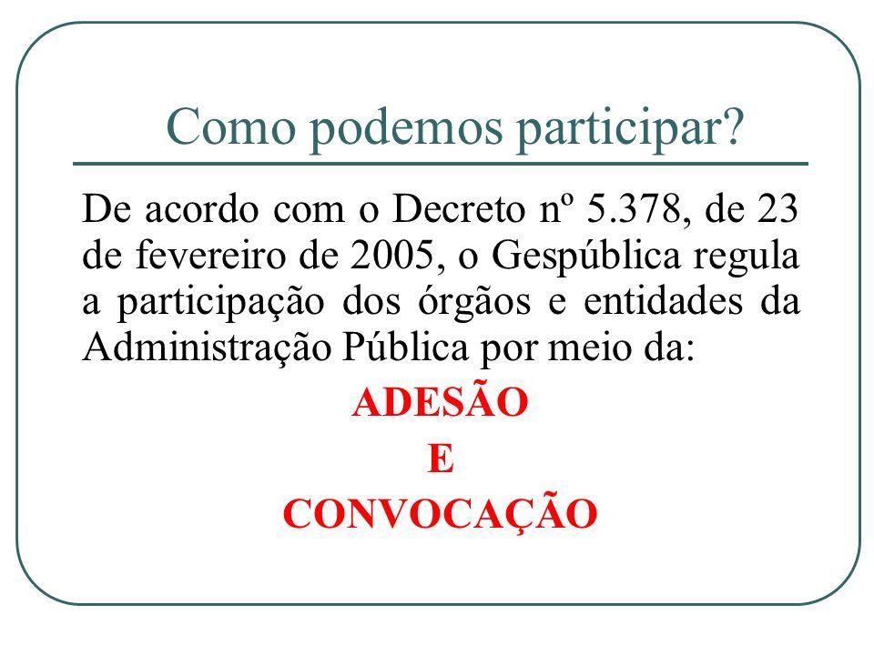 Como podemos participar? De acordo com o Decreto nº 5.378, de 23 de fevereiro de 2005, o Gespública regula a participação dos órgãos e entidades da Ad