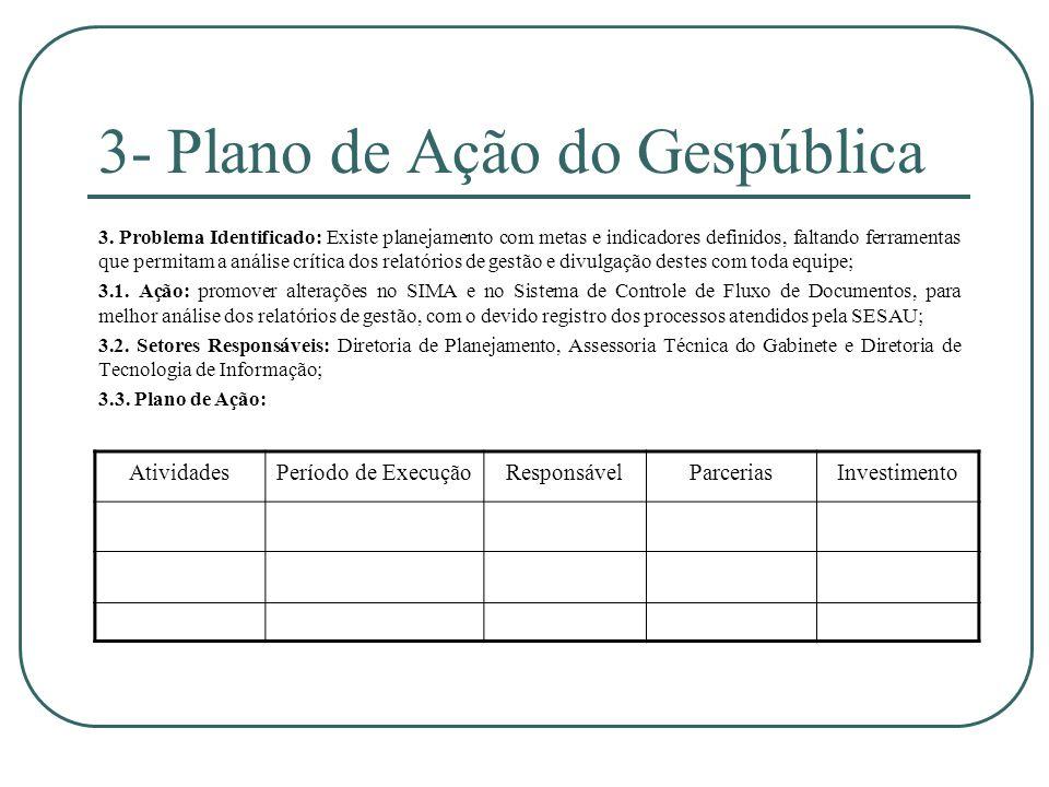 3- Plano de Ação do Gespública 3. Problema Identificado: Existe planejamento com metas e indicadores definidos, faltando ferramentas que permitam a an