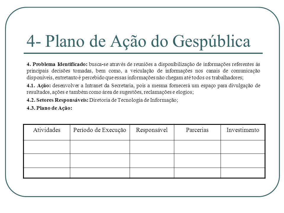 4- Plano de Ação do Gespública 4. Problema Identificado: busca-se através de reuniões a disponibilização de informações referentes ás principais decis