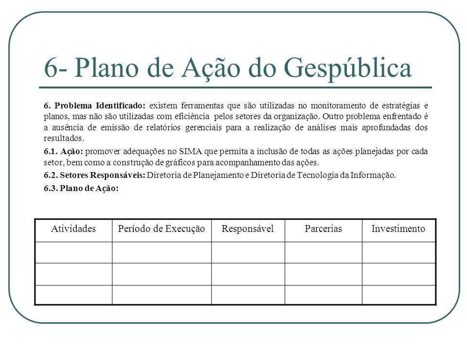 6- Plano de Ação do Gespública 6. Problema Identificado: existem ferramentas que são utilizadas no monitoramento de estratégias e planos, mas não são