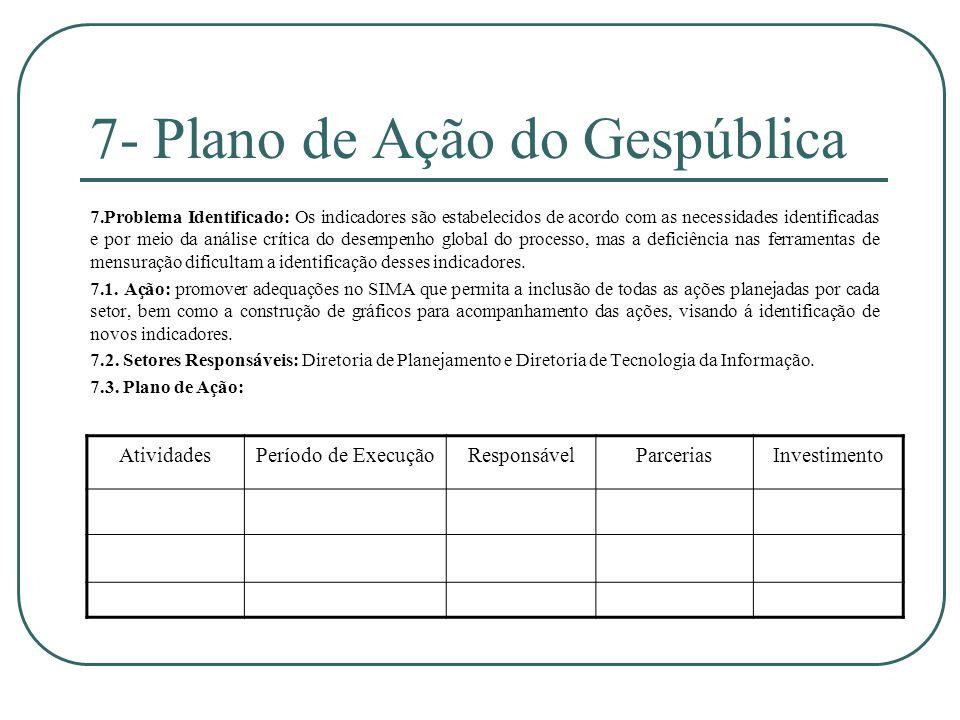 7- Plano de Ação do Gespública 7.Problema Identificado: Os indicadores são estabelecidos de acordo com as necessidades identificadas e por meio da aná
