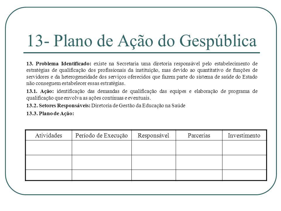 13- Plano de Ação do Gespública 13. Problema Identificado: existe na Secretaria uma diretoria responsável pelo estabelecimento de estratégias de quali