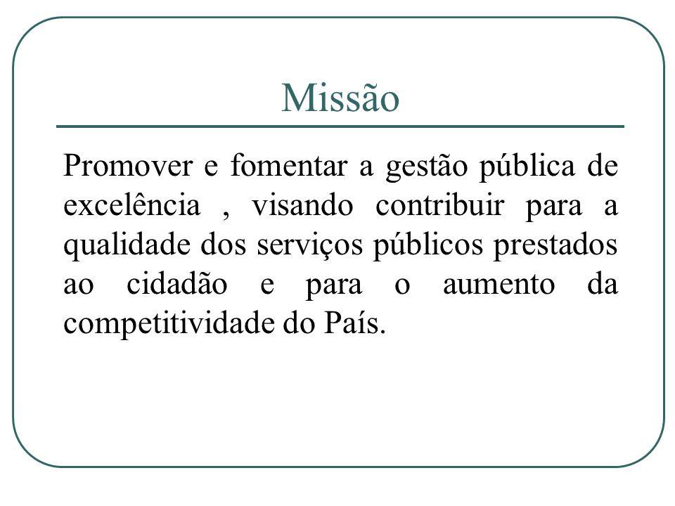 Missão Promover e fomentar a gestão pública de excelência, visando contribuir para a qualidade dos serviços públicos prestados ao cidadão e para o aum