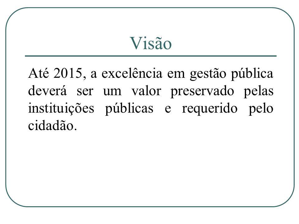 Visão Até 2015, a excelência em gestão pública deverá ser um valor preservado pelas instituições públicas e requerido pelo cidadão.