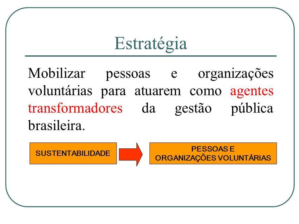 Estratégia Mobilizar pessoas e organizações voluntárias para atuarem como agentes transformadores da gestão pública brasileira. SUSTENTABILIDADE PESSO