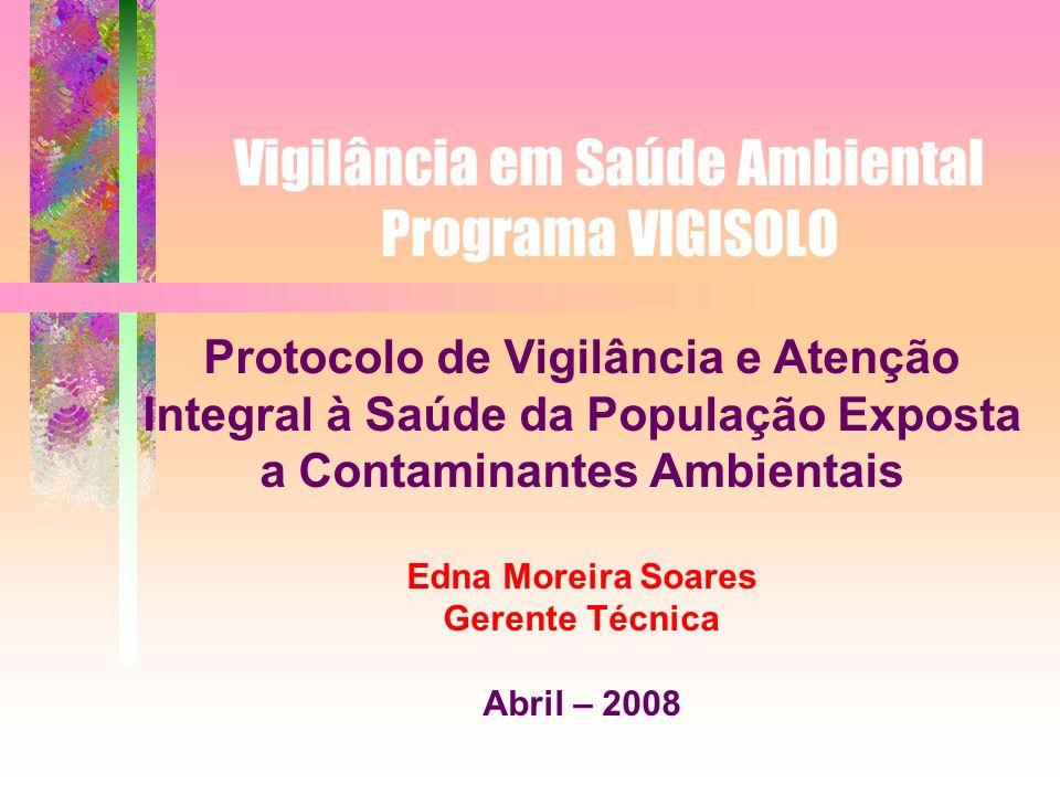 Vigilância em Saúde Ambiental Programa VIGISOLO Protocolo de Vigilância e Atenção Integral à Saúde da População Exposta a Contaminantes Ambientais Edn