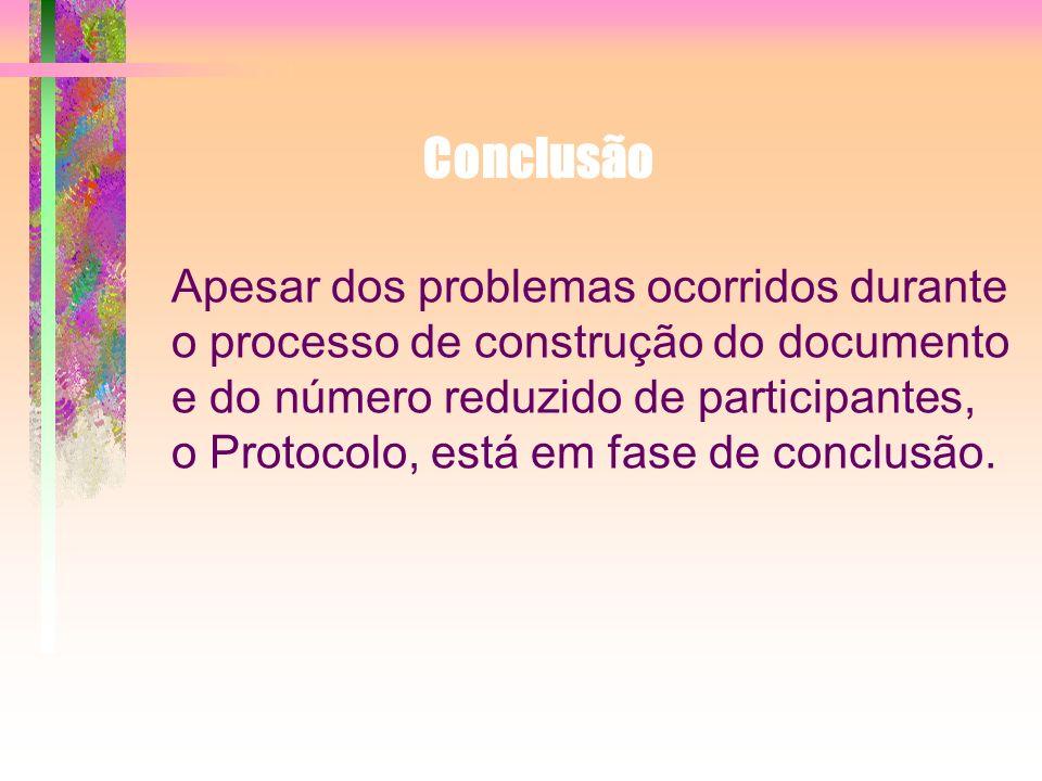 Apesar dos problemas ocorridos durante o processo de construção do documento e do número reduzido de participantes, o Protocolo, está em fase de concl