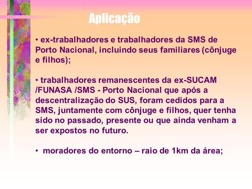 Aplicação ex-trabalhadores e trabalhadores da SMS de Porto Nacional, incluindo seus familiares (cônjuge e filhos); trabalhadores remanescentes da ex-S