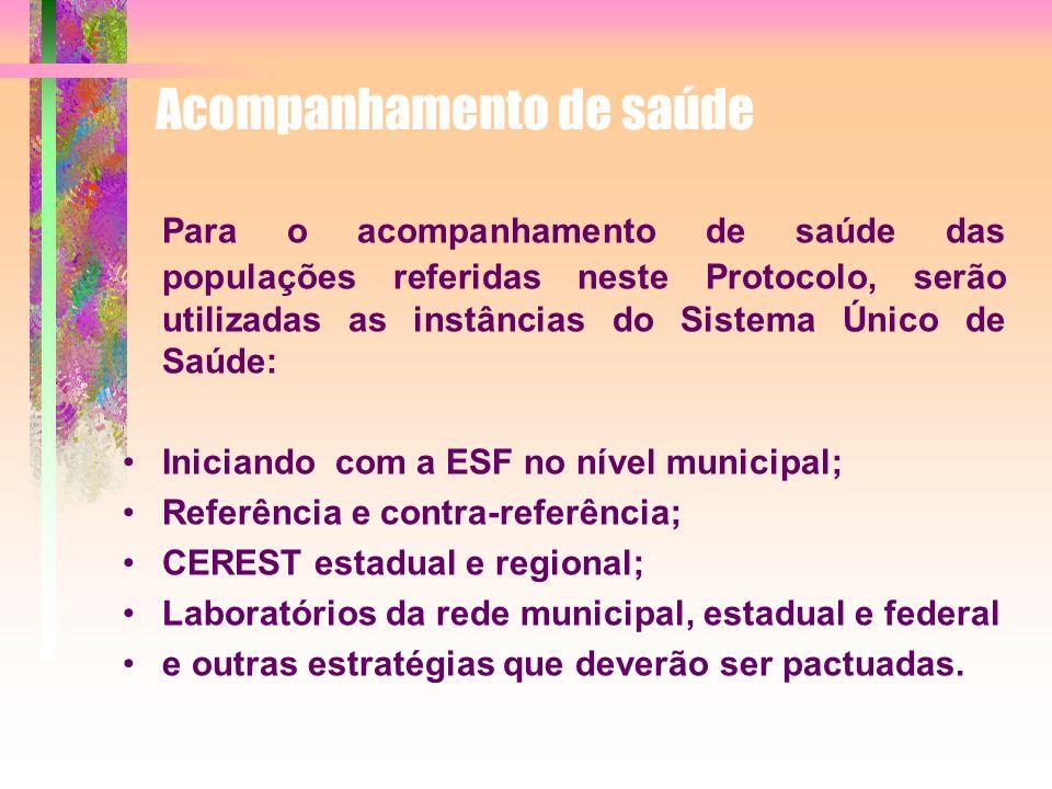 Para o acompanhamento de saúde das populações referidas neste Protocolo, serão utilizadas as instâncias do Sistema Único de Saúde: Iniciando com a ESF