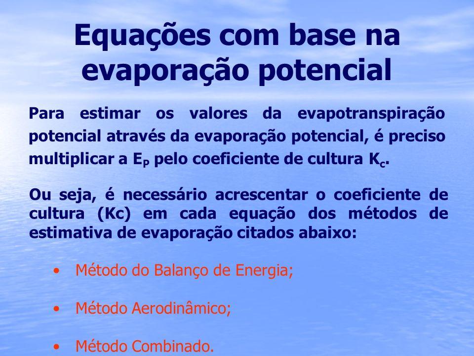 Equações com base na evaporação potencial Para estimar os valores da evapotranspiração potencial através da evaporação potencial, é preciso multiplica