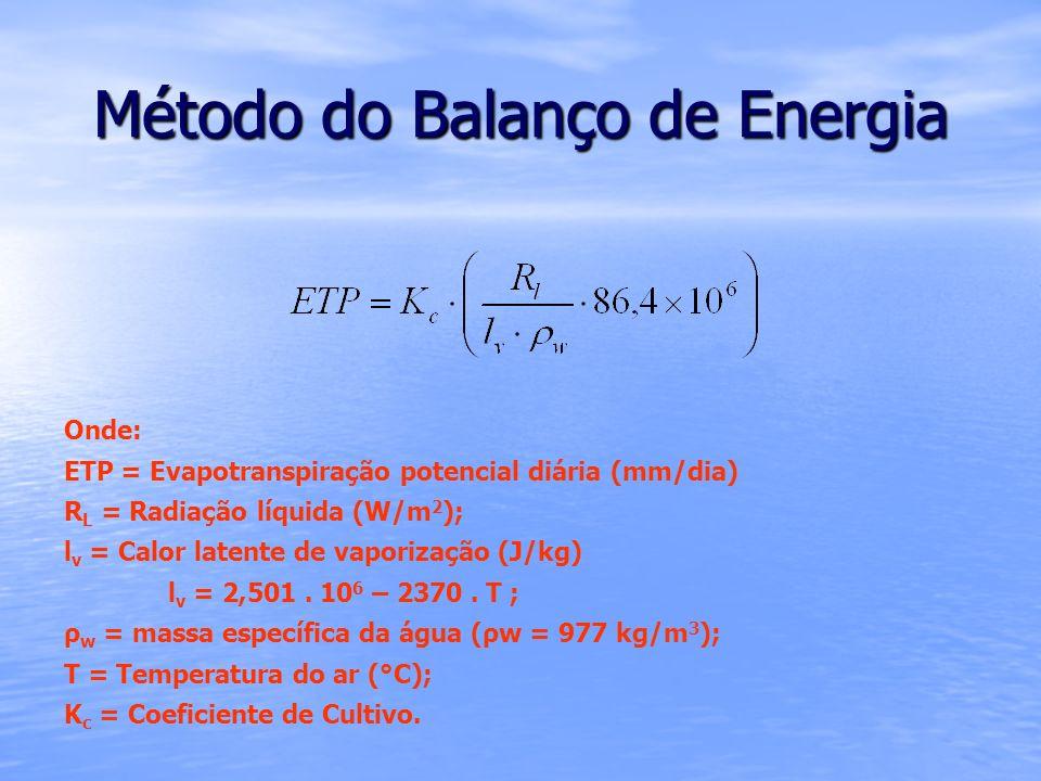 Método do Balanço de Energia Onde: ETP = Evapotranspiração potencial diária (mm/dia) R L = Radiação líquida (W/m 2 ); l v = Calor latente de vaporizaç