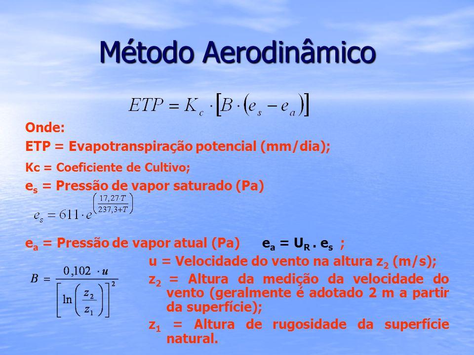 Onde: ETP = Evapotranspiração potencial (mm/dia); Kc = Coeficiente de Cultivo; e s = Pressão de vapor saturado (Pa) e a = Pressão de vapor atual (Pa)e