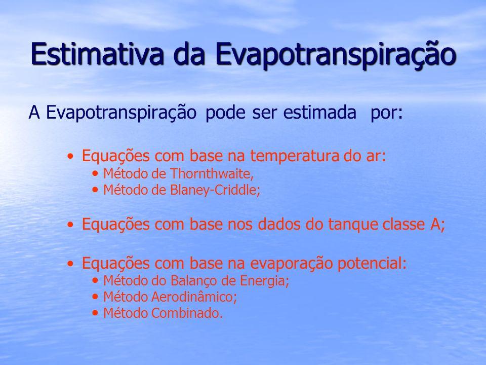 Estimativa da Evapotranspiração A Evapotranspiração pode ser estimada por: Equações com base na temperatura do ar: Método de Thornthwaite, Método de B