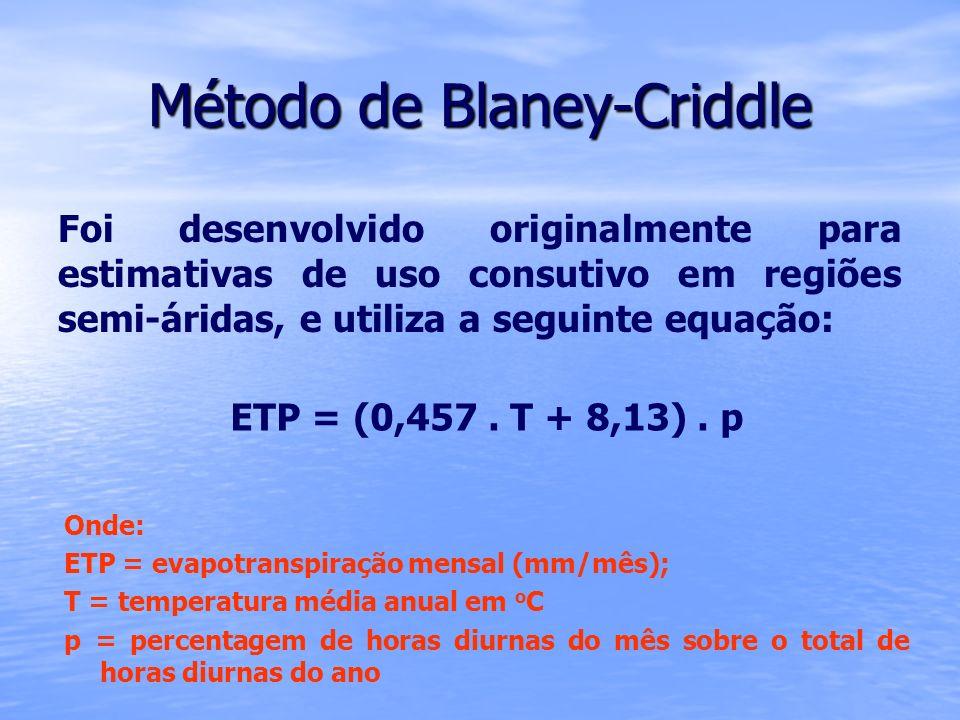 Método de Blaney-Criddle Foi desenvolvido originalmente para estimativas de uso consutivo em regiões semi-áridas, e utiliza a seguinte equação: ETP =
