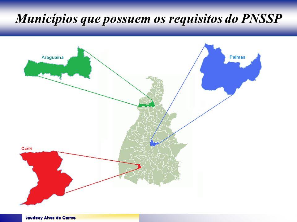 Laudecy Alves do Carmo GOVERNO DO ESTADO DO TOCANTINS SECRETARIA DE ESTADO DA SAÚDE Municípios que possuem os requisitos do PNSSP