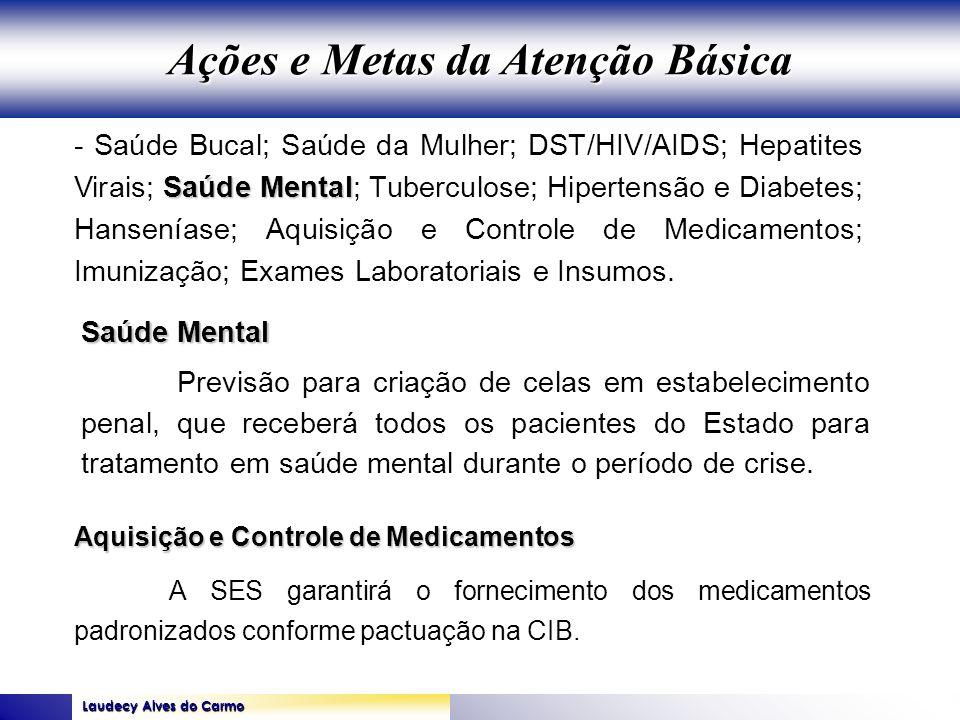 Laudecy Alves do Carmo GOVERNO DO ESTADO DO TOCANTINS SECRETARIA DE ESTADO DA SAÚDE Saúde Mental - Saúde Bucal; Saúde da Mulher; DST/HIV/AIDS; Hepatit