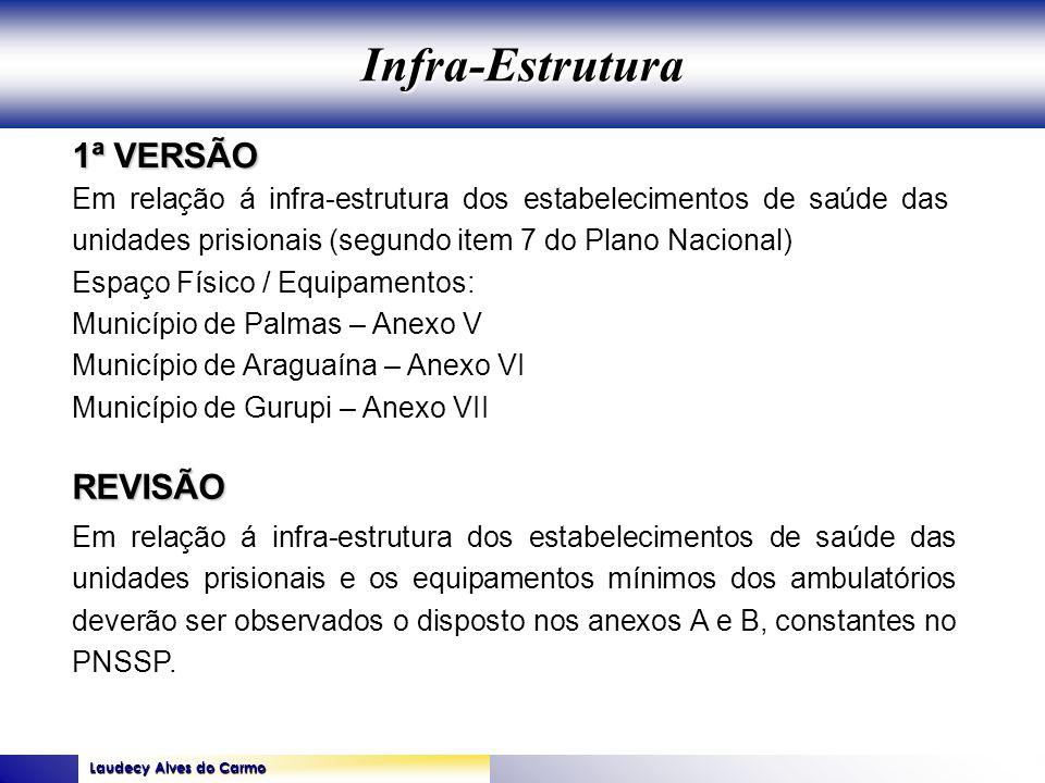 Laudecy Alves do Carmo GOVERNO DO ESTADO DO TOCANTINS SECRETARIA DE ESTADO DA SAÚDE 1ª VERSÃO REVISÃO Em relação á infra-estrutura dos estabelecimento