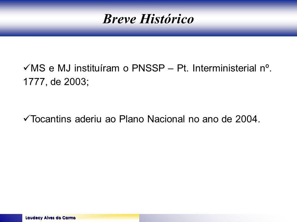 Laudecy Alves do Carmo GOVERNO DO ESTADO DO TOCANTINS SECRETARIA DE ESTADO DA SAÚDE MS e MJ instituíram o PNSSP – Pt. Interministerial nº. 1777, de 20