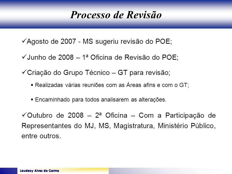 Laudecy Alves do Carmo GOVERNO DO ESTADO DO TOCANTINS SECRETARIA DE ESTADO DA SAÚDE Agosto de 2007 - MS sugeriu revisão do POE; Junho de 2008 – 1ª Ofi