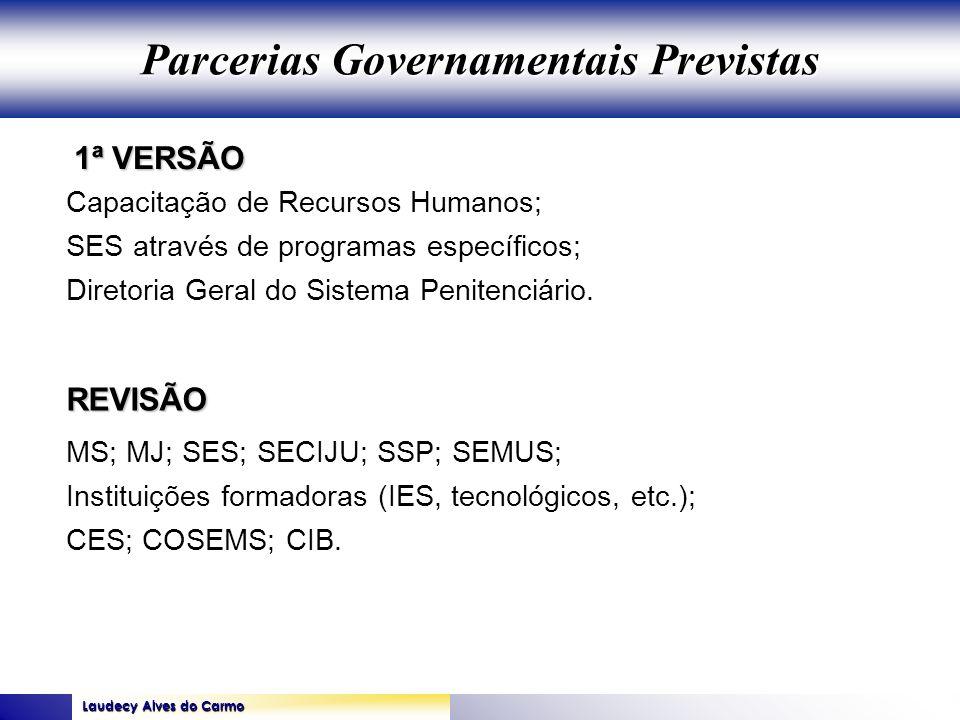 Laudecy Alves do Carmo GOVERNO DO ESTADO DO TOCANTINS SECRETARIA DE ESTADO DA SAÚDE 1ª VERSÃO REVISÃO Capacitação de Recursos Humanos; SES através de