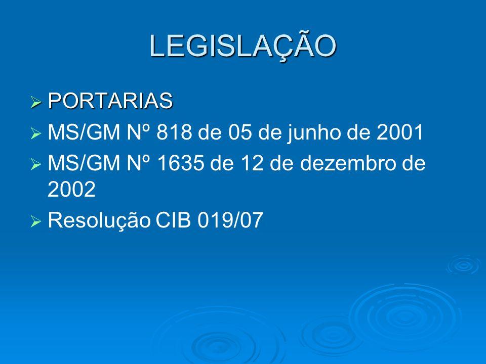 LEGISLAÇÃO PORTARIAS PORTARIAS MS/GM Nº 818 de 05 de junho de 2001 MS/GM Nº 1635 de 12 de dezembro de 2002 Resolução CIB 019/07