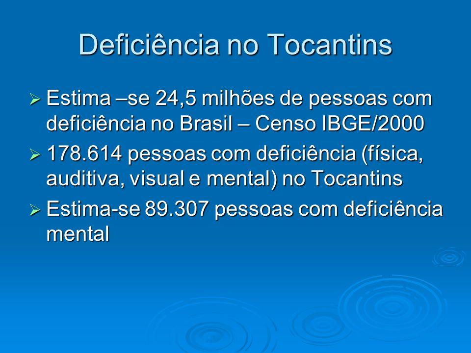 Deficiência no Tocantins Estima –se 24,5 milhões de pessoas com deficiência no Brasil – Censo IBGE/2000 Estima –se 24,5 milhões de pessoas com deficiê