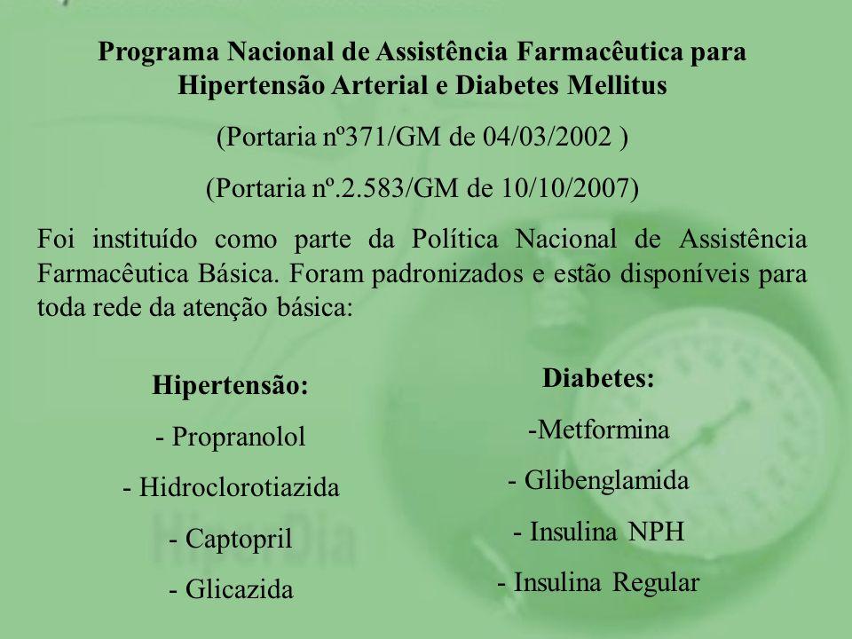 Programa Nacional de Assistência Farmacêutica para Hipertensão Arterial e Diabetes Mellitus (Portaria nº371/GM de 04/03/2002 ) (Portaria nº.2.583/GM d