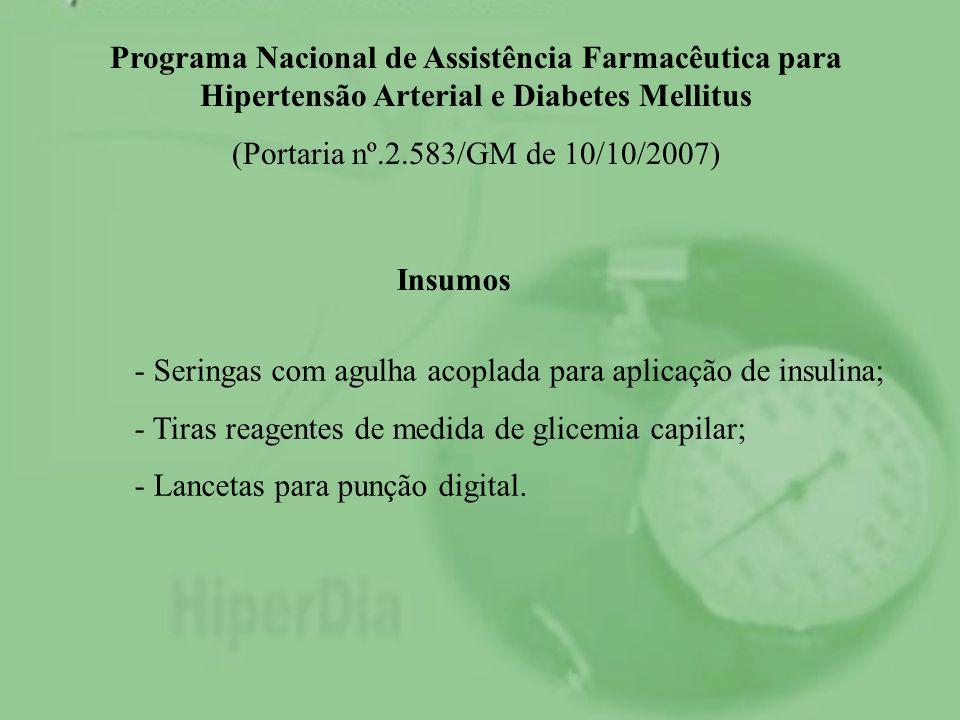 Programa Nacional de Assistência Farmacêutica para Hipertensão Arterial e Diabetes Mellitus (Portaria nº.2.583/GM de 10/10/2007) Insumos - Seringas co