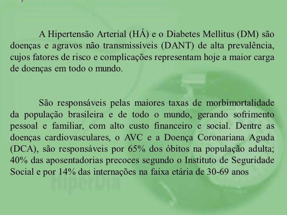 A Hipertensão Arterial (HÁ) e o Diabetes Mellitus (DM) são doenças e agravos não transmissíveis (DANT) de alta prevalência, cujos fatores de risco e c