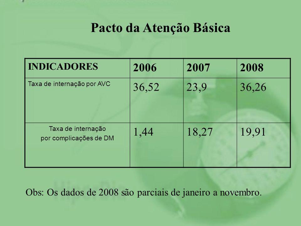 INDICADORES 200620072008 Taxa de internação por AVC 36,5223,936,26 Taxa de internação por complicações de DM 1,4418,2719,91 Obs: Os dados de 2008 são