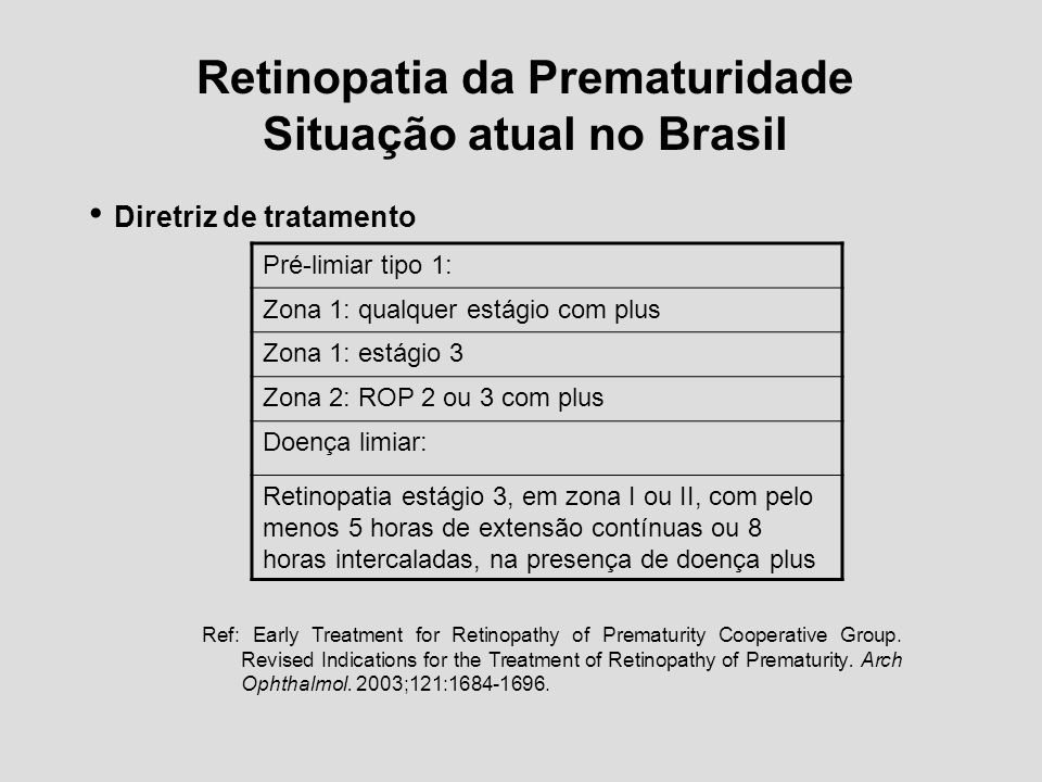 Retinopatia da Prematuridade Situação atual no Brasil Diretriz de tratamento Pré-limiar tipo 1: Zona 1: qualquer estágio com plus Zona 1: estágio 3 Zo