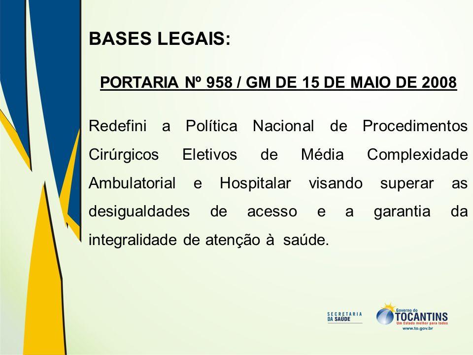 BASES LEGAIS: PORTARIA Nº 958 / GM DE 15 DE MAIO DE 2008 Redefini a Política Nacional de Procedimentos Cirúrgicos Eletivos de Média Complexidade Ambul