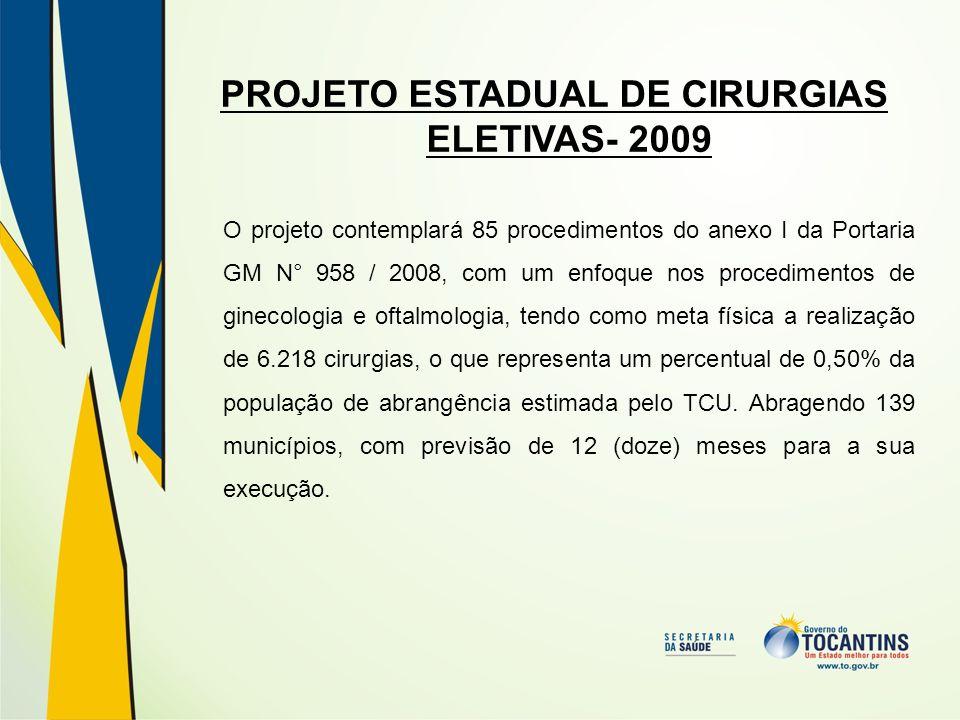 PROJETO ESTADUAL DE CIRURGIAS ELETIVAS- 2009 O projeto contemplará 85 procedimentos do anexo I da Portaria GM N° 958 / 2008, com um enfoque nos proced