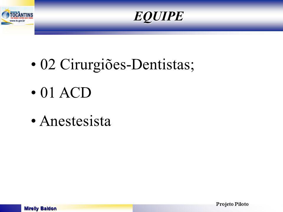 Mirelly Baldon GOVERNO DO ESTADO DO TOCANTINS SECRETARIA DE ESTADO DA SAÚDE EQUIPE 02 Cirurgiões-Dentistas; 01 ACD Anestesista Projeto Piloto