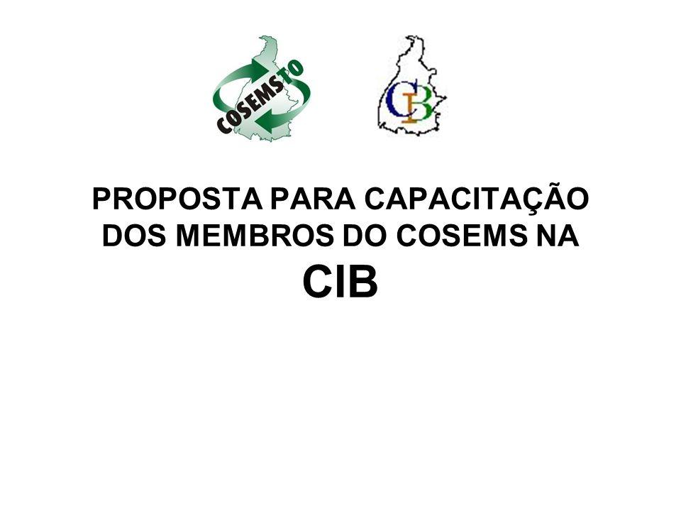 PROPOSTA PARA CAPACITAÇÃO DOS MEMBROS DO COSEMS NA CIB