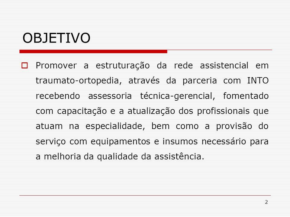 2 OBJETIVO Promover a estruturação da rede assistencial em traumato-ortopedia, através da parceria com INTO recebendo assessoria técnica-gerencial, fo