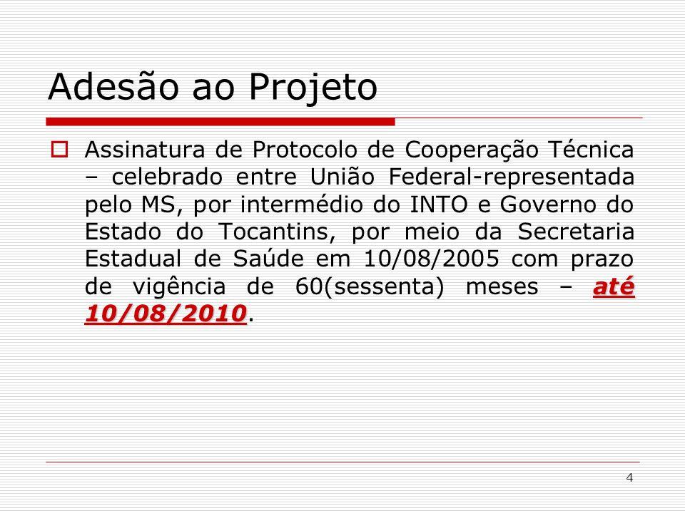 4 Adesão ao Projeto até 10/08/2010 Assinatura de Protocolo de Cooperação Técnica – celebrado entre União Federal-representada pelo MS, por intermédio