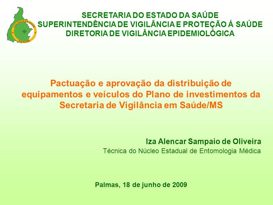 SECRETARIA DO ESTADO DA SAÚDE SUPERINTENDÊNCIA DE VIGILÂNCIA E PROTEÇÃO Á SAÚDE DIRETORIA DE VIGILÂNCIA EPIDEMIOLÓGICA Pactuação e aprovação da distri