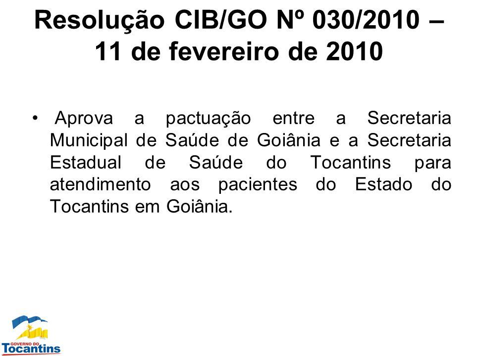 Resolução CIB/GO Nº 030/2010 – 11 de fevereiro de 2010 Aprova a pactuação entre a Secretaria Municipal de Saúde de Goiânia e a Secretaria Estadual de