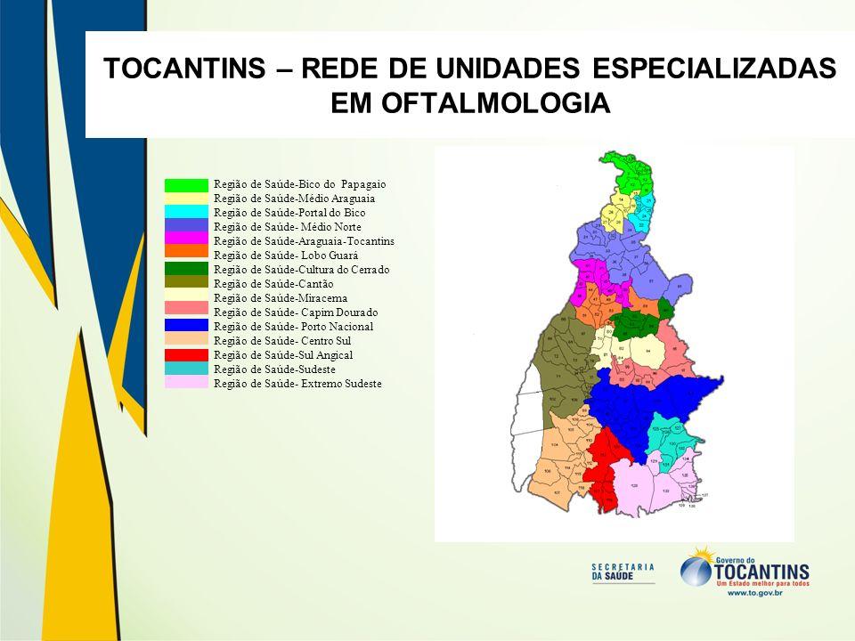 TOCANTINS – REDE DE UNIDADES ESPECIALIZADAS EM OFTALMOLOGIA Região de Saúde-Bico do Papagaio Região de Saúde-Médio Araguaia Região de Saúde-Portal do