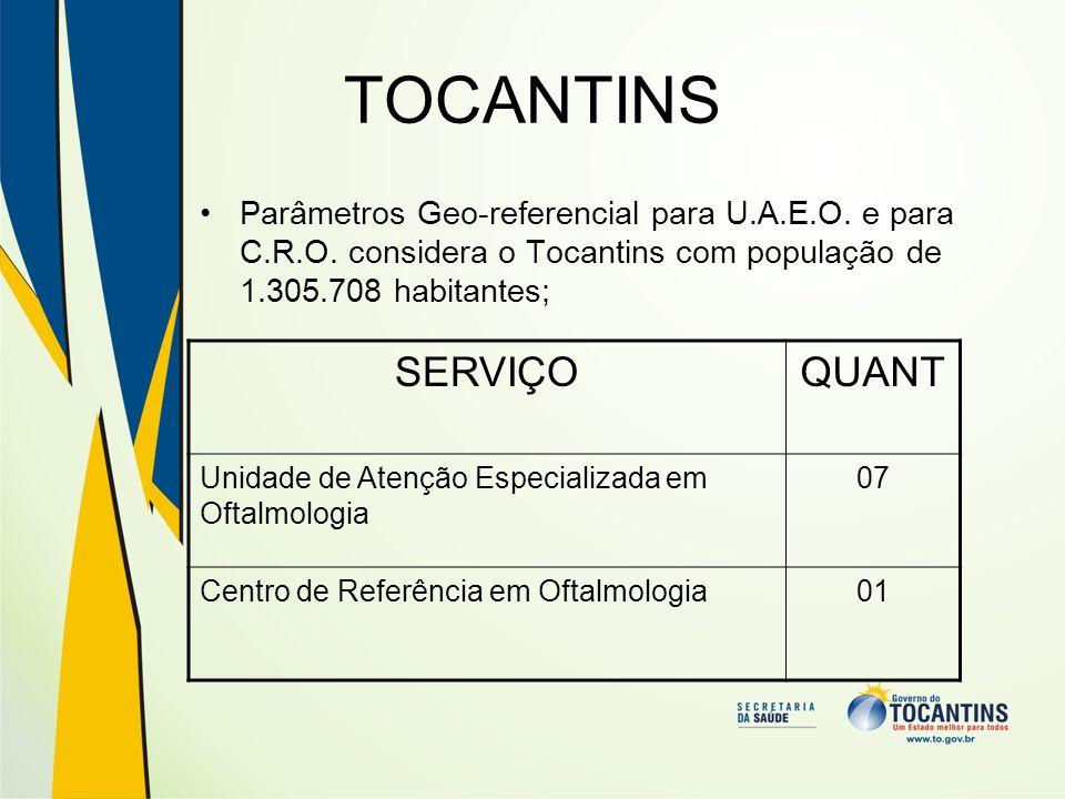 TOCANTINS Parâmetros Geo-referencial para U.A.E.O. e para C.R.O. considera o Tocantins com população de 1.305.708 habitantes; SERVIÇOQUANT Unidade de