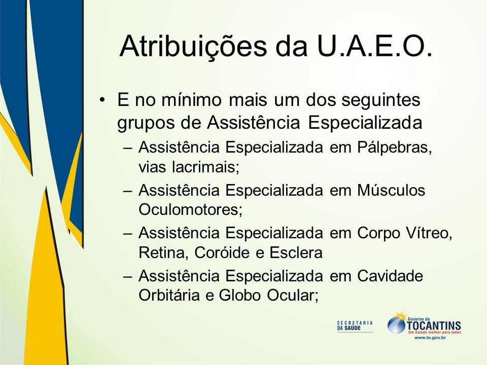 Atribuições da U.A.E.O. E no mínimo mais um dos seguintes grupos de Assistência Especializada –Assistência Especializada em Pálpebras, vias lacrimais;