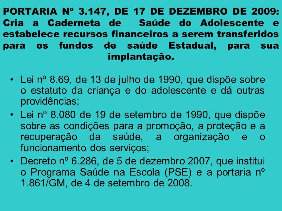 PORTARIA Nº 3.147, DE 17 DE DEZEMBRO DE 2009: Cria a Caderneta de Saúde do Adolescente e estabelece recursos financeiros a serem transferidos para os
