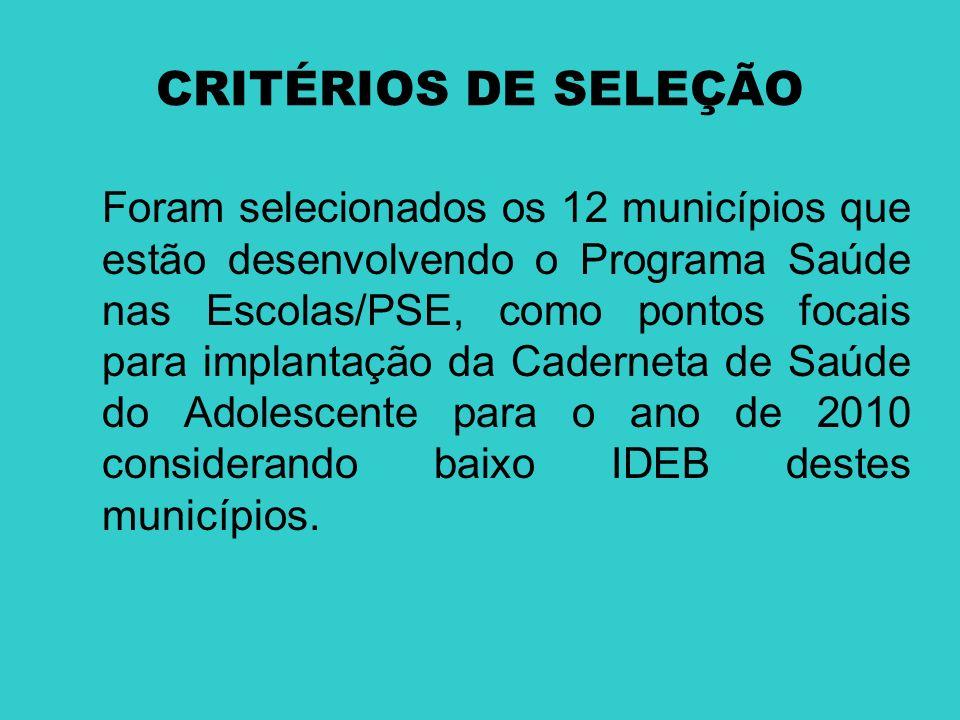 CRITÉRIOS DE SELEÇÃO Foram selecionados os 12 municípios que estão desenvolvendo o Programa Saúde nas Escolas/PSE, como pontos focais para implantação